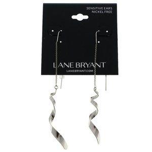 Lane Bryant 5 inch silver dangle twist earring